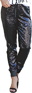 Azokoe Womens Fashion Sequin Flared Trousers High Waisted Casual Loose/Skinny Glitter Overalls Legging Maxi Pants