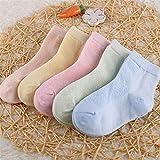 5 par/Lote de Calcetines de algodón para niños, niñas y bebés, Calcetines de Malla sólida Transpirables a la Moda ultrafinos para Verano 1-12T, Adolescentes, niños-a28-S (1-3 Years)