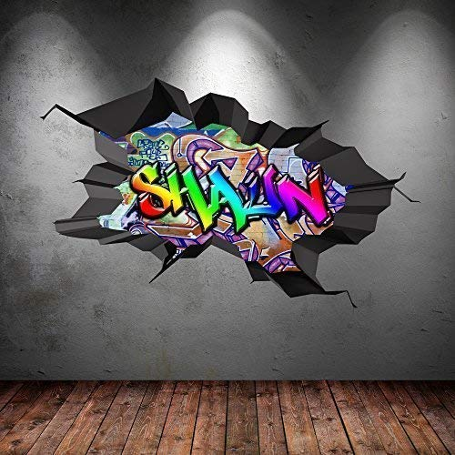 Wall Smart Designs Multi Farbige Personalisiert 3D Graffiti Name Cracked Wandkunst Aufkleber - S 70cm(W) x 43cm (H)