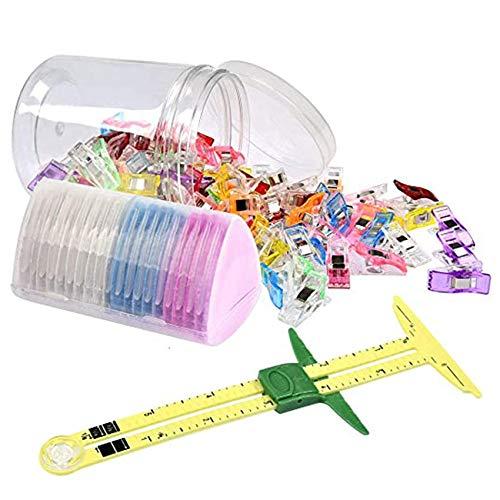 Wuudi 100 Piezas de Clips de Costura + 20 Piezas de Tiza de Sastre + Juegos de Costura de Regla, Herramienta de Patchwork, Clips de Tela de plástico Multiusos, Accesorios de Costura