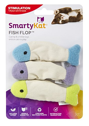 SmartyKat Fish Flop Cat Toy Catnip Crinkle Toys, 3 Toys per package