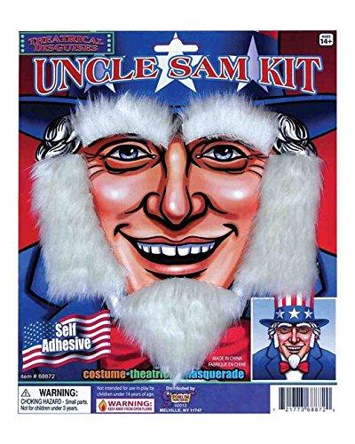 Forum Uncle Sam Patriotic July 4th Costume White Beard Facial Hair, As Shown, Standard
