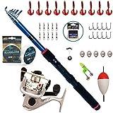 BPS Kit Combo de Pesca Incluye Caña de Pescar Spinning Telescópica Carrete de Pesca Cebos y...