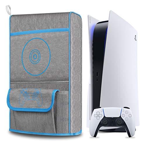Elygo Cubierta Antipolvo para PS5,Funda Protectora para Sony Playstation 5,Antiarañazos a Prueba de Agua,Soporte para PS5,Controladores y 12 Discos de Juegos (Azul)