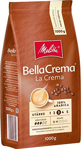 Melitta Ganze Kaffeebohnen, 100{82c3d76089da6e020e3547f4d43cac4b372f538ae6c9174a5ecd14bd1afe1282} Arabica, vollmundig und ausgewogen, Stärke 3, BellaCrema LaCrema, 1kg
