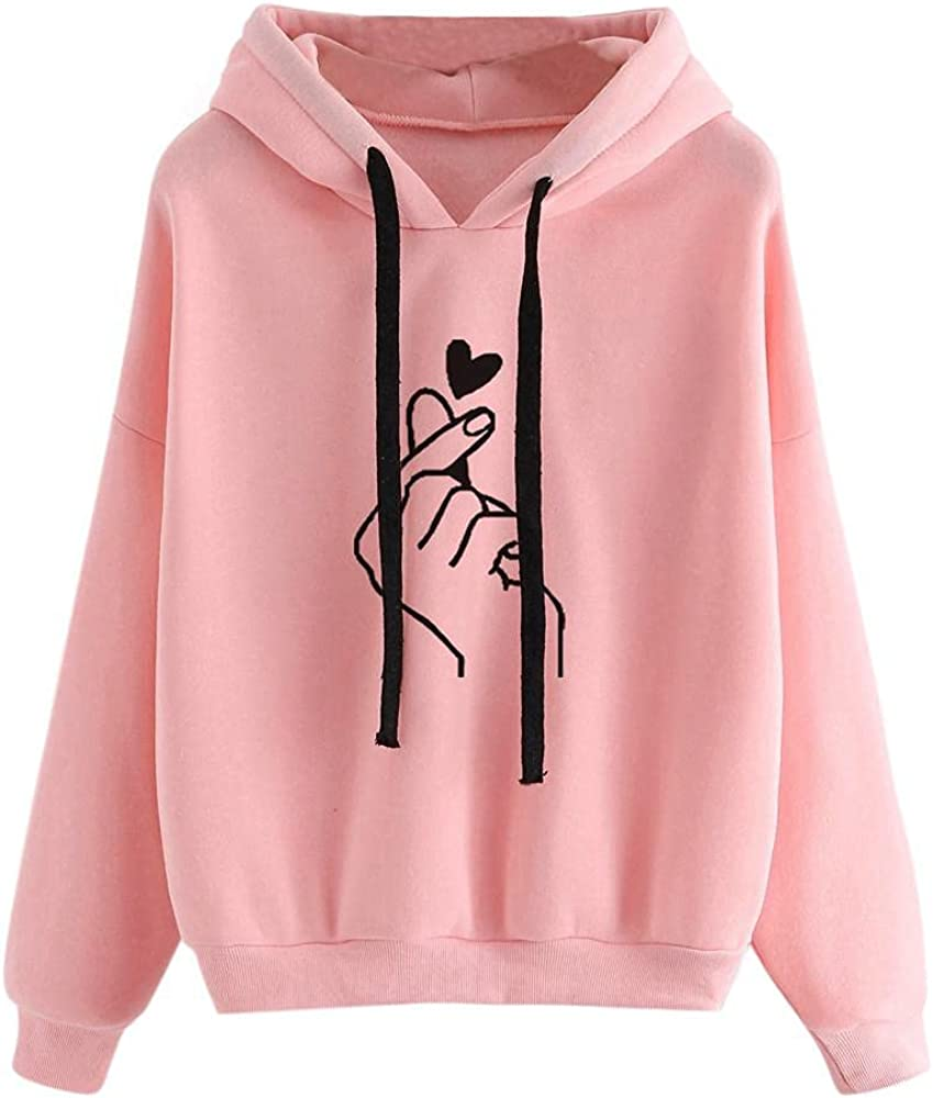 Oiumov Hoodies for Women Pullover Graphic Long Sleeve Plus Size Loose Hooded Sweatshirts with Pockets Pullover Tops Sweater