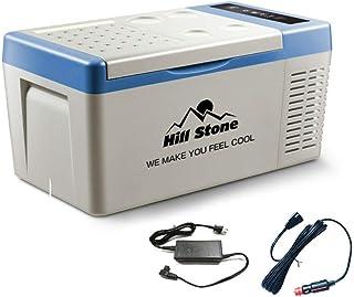 Hewflit 冷蔵冷凍庫 18L 車載用 12V 24V クーラーボックス 小型 シガーソケット 家庭用電源付き −22℃〜10℃ キャンプ アウトドア