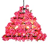 PHLPS Cherry Blossoms Chandelier, Industrial Style Artificial Fake Plant Pendant Lamp, Decorative Hanging Flower Green Plants Light LED Lighting Fixture,for Party Cafe Bar Restaurant Bedroom Dining Ro