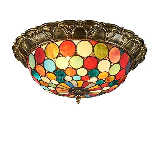 Tiffany Style LED luces de techo vintage redondas montaje empotrado lámpara de techo vintage vidriera lámpara de techo para dormitorio, sala de estar, cafetería, Coollight, 40 cm