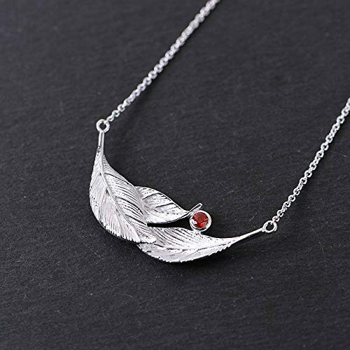 JNFGH Handmade Pendant Necklaces For Women,European Elegant Silver Leaves Zircon Pendant 925 Sterling Silver Jewelry For Ladies Girls Weddings Proms Birthday Party Other Special Occasions Gifts