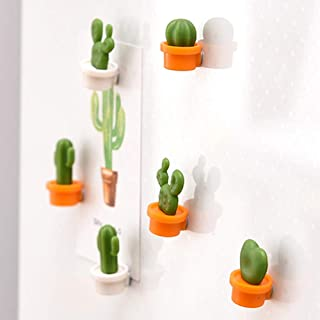 SUJING 6pcs Cute Succulent Plant Magnetic Refrigerator Magnets Cute Home Decor Refrigerator Stickers Creative Notice Message Magnetic Stickers Gift (Orange)
