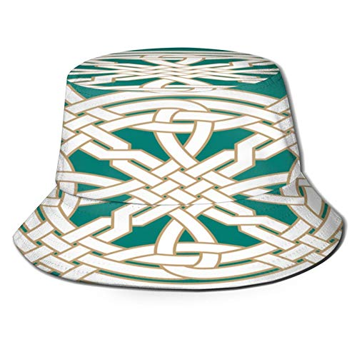 TTLUCKY Fishing Hat,Interlaced Celtic Ornament Two White On,Hiking Boonie Safari Sun Caps Traveling for Men&Women for Outdoor Gardening