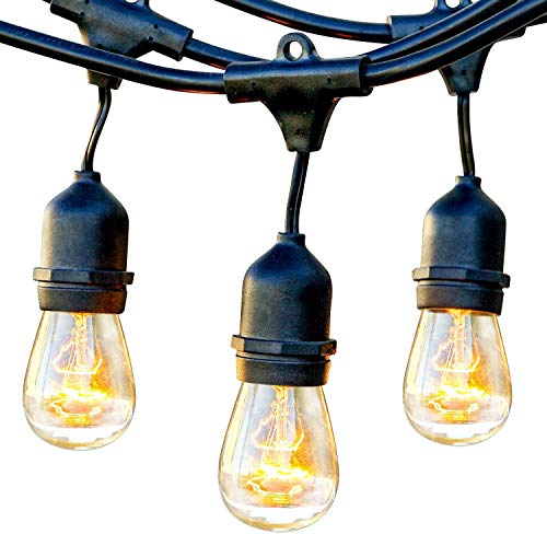 Brightech Ambience Pro - Waterproof Outdoor String Lights - Dimmable, Incandescent Edison Bulbs Create Bistro Ambience On Your Patio - Commercial Grade Weatherproof - 24 Ft Market Lights