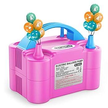 Dr.meter Pompe à Ballon, Gonfleur Electrique Ballon avec Double Utilisation, Portable pour Soufflante Gonfleuse, pour Fête, Mariage, Anniversaire, Activités et Décoration de Destival Bleu