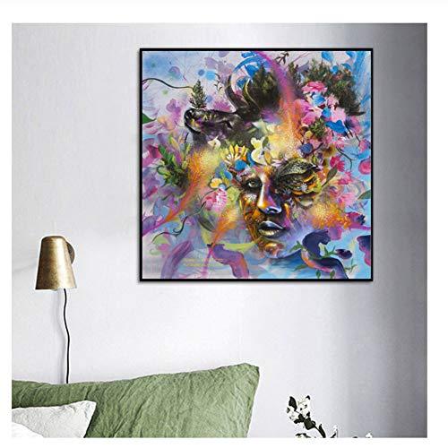 nr Aquarell Blume Pflanze Weibliche Leinwand Malerei Drucke Nordic Poster Bild Wandkunstwerk Für Schlafzimmer Wohnkultur-60x60 cm Kein Rahmen