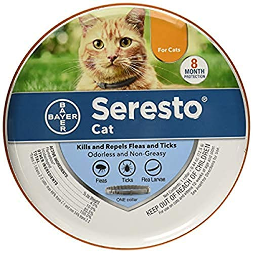 Bayer Animal Health Seresto Flea & Tick Collar for Cats, All Weights & Sizes, 8 Month Protection (3 Pack), Gray