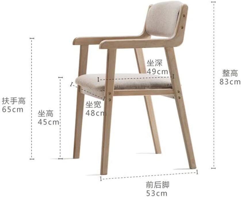WHOJA Retro Dining Chair, Chaise en bois massif Main courante de restaurant Chaise de loisirs Chaise de bureau en tissu 48x53x83cm Chaises d'angle (Color : #8) #9