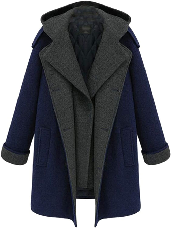 Maweisong Women Winter Pea Coat Lapel Open Front Jacket Overcoat Outwear