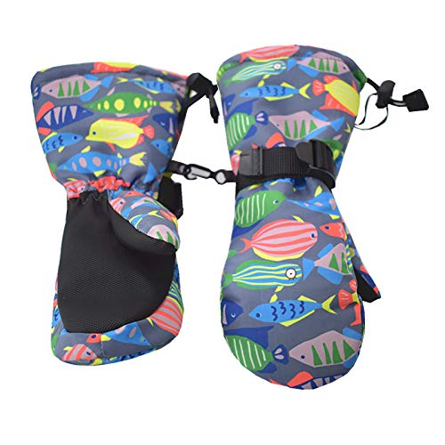 Handschuhe Winterhandschuhe Kinderskihandschuhe kalt, wasserdicht, rutschfest, modisch, warm, Fäustlinge, Cartoon-Farbstreifen Kinder