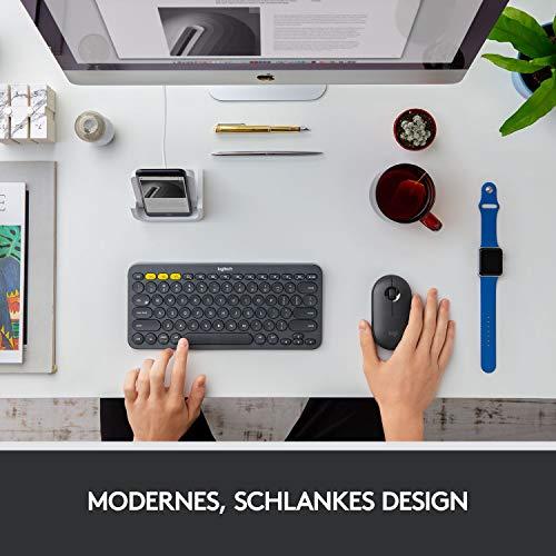 Logitech M350 Pebble Kabellose Maus, Bluetooth und 2.4 GHz Verbindung via Nano USB-Empfänger, 18-Monate Akkulaufzeit, 3 Tasten, Leises Klicken und Scrollen, PC/Mac/iPadOS – Grafit/Schwarz - 2
