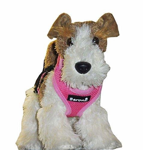 Beroni Softgeschirr Hundegeschirr weich gepolstert verstellbar für kleine Hunde und Welpen rosa-pink Mesh S - L (XS)