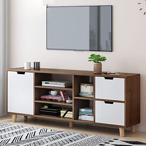 TV Unit Black Oak Stand Cabinet Wooden TV Bench,Modern Storage Cabinet With 1 Doors 5 Shelves 2drawer,TV Coffee Table for Living Room Bedroom,140cm black