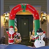 Crystally Navidad Papá Noel Papá Noel Hinchable con LED Brillantes Decoración para Navidad para Jardín Casa Interior o Exterior, Arco de Arco Inflable de 2.4 m