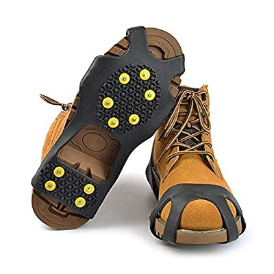 StyleZ 10-Stud Spikes Anti Slip Snow Ice Grips Over Shoe Traction Cleats Rubber Crampons Slip-on Stretch Footwear (M)