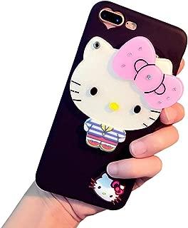 BONTOUJOUR Super Lovely iPhone 7 Plus/iPhone 8 Plus Case, Creative Multifunction Cartoon Soft TPU Phone Case with Hello Kitty Cat Flower Mirror on Back + Lanyard - Hello Kitty Black