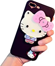 BONTOUJOUR Super Lovely iPhone 6 Plus/iPhone 6S Plus Case, Creative Multifunction Cartoon Soft TPU Phone Case with Hello Kitty Cat Flower Mirror on Back + Lanyard - Hello Kitty Black