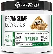 Premium BROWN SUGAR Body Scrub Exfoliating Set - Large 16oz PEPPERMINT SCRUB For Face & Body,Infused Organic Essential Oils & Nutrients + FREE Wooden Stirring Spoon, Loofah & Mini Exfoliating Bar Soap