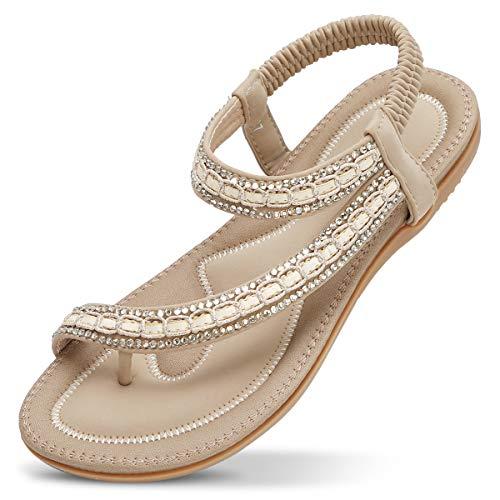 ZOEREA Mujer Sandalias Planas Verano Bohemia Estilo Rhinestone Flor Tobillo Correa Elástica Casuales de Playa Elegantes Chanclas Damas Zapatos