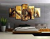 5 Unidades/Set Pintura De Pared Caligrafía Animal Tiger Wall Art Print Poster Lienzo Decoración Para El Hogar Arte Modular De Impresión Hd, 20X55