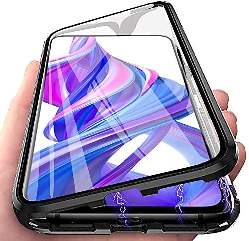 LIUKM Funda para Huawei P20 Pro, Adsorción Magnética conchoques de Metal con 360 Grados Protección Case Cover Transparente Ambos Lados Vidrio Templado Cubierta - Negro