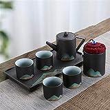 DHTOMC Recipientes Coffee Service Set Servicio de Tetera de Estilo japonés con Mango y Tazas de té for 2 Adultos con Bandeja de té maravillosamente excelente para la Boda de Porcelana cerámica