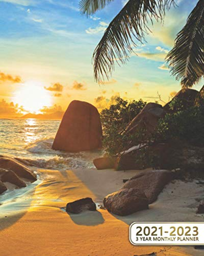 3 Year Monthly Planner 2021-2023: Maldives Getaway Three Year Organizer & Schedule Agenda - 36 Month Motivational Calendar with Vision Boards, Notes, To-Do's & More - Beautiful Sea & Jungle at Sunset