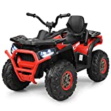 Costzon Ride on ATV, 12V Battery Powered Electric Vehicle w/ Safety Belt, LED Lights, Horn, 2 Speeds, USB/ MP3/TF, Rear Wheel Motorized Ride on 4 Wheeler Quad Car for Kids Over 3 Years Old (Red)