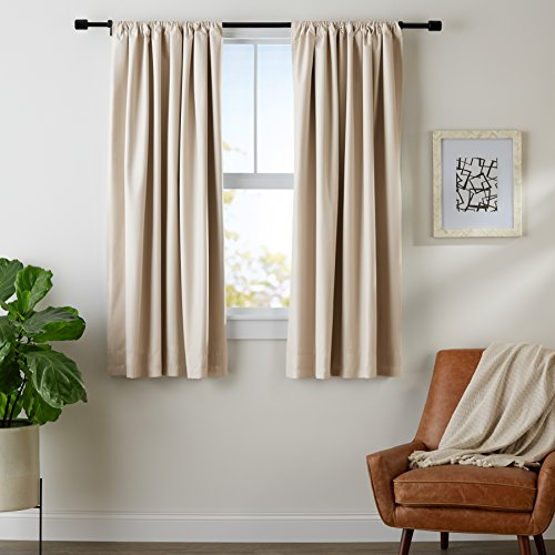"AmazonBasics Blackout Curtain Set - 52"" x 63"", Grey-Beige"