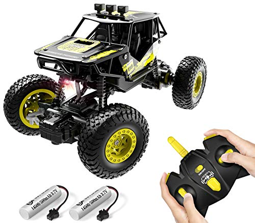 DoDoeleph Remote Control Car, 4x4 1:20 Off-Road RC Monster Truck, 2.4GHz Auto Demo Climbing RC Crawler with Red LED Light & 2 Rechargeable Batteries, Hobby Car Toys for Boys Girls Kids