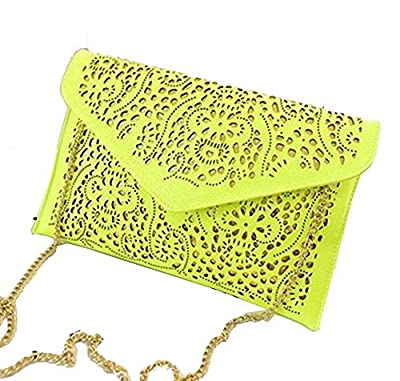Womens Faux Leather Neon Hollow Flowers Envelope Summer Clutch Purse