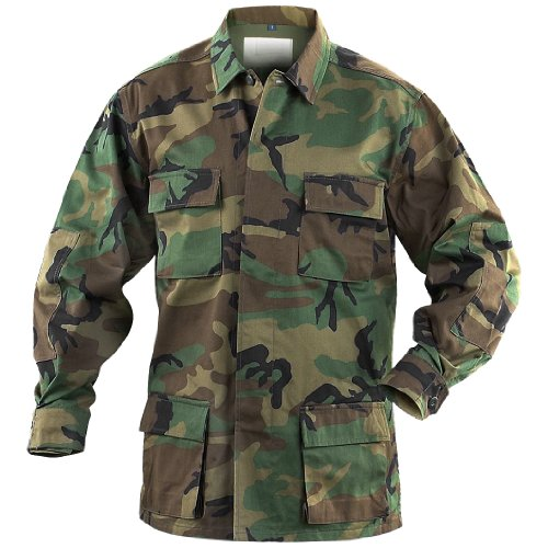 Mil-Tec BDU Combat Hemd Woodland Größe L