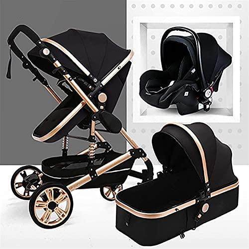 YZPTD Cochecito de Cochecito 3 en 1 Carruaje Cochecito de Lujo Plegable de Lujo de Lujo Anti-Shock Springs Vista Alta Vista PrAM Baby Stroller con Canasta para bebés para recién Nacido y bebé