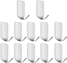 Ganchos autoadhesivos, paquete de 12 ganchos de pared de acero inoxidable para cocina, baño, oficina, armario, resistente al agua y al óxido, no requiere pegamento para taladros