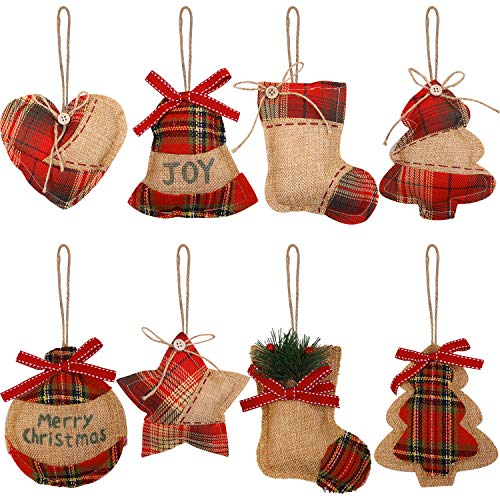 Aneco 8 Pieces Christmas Tree Decorations Rustic Christmas Stocking Decorations Burlap Tree Ornaments Hanging Decorations Ball Shaped Decor for Christmas Party
