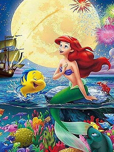 CDNY Princesa Sirena de Dibujos animados-5D DIY Pintura Diamante-de Cristal, Bordado de Punto de Cruz, Lienzo-para Adultos Niños Decoración de la pared40x50cm