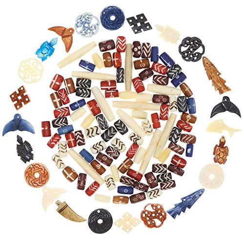 124 Bone Pendants & Bone Beads for Jewelry Making, Natural Ox Buffalo Bone African Beads, Hand Carved Bulk Beads Bead Assortment, Large Beads for Native American & Indian Projects (Set-1)