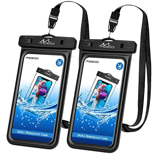 MoKo Floating Waterproof Phone Pouch [2 Pack], Floatable Phone Case Dry Bag with Lanyard Sponge Compatible with iPhone 11/11 Pro, X/Xs/Xr/Xs Max, 8/7 Plus, Galaxy S10/S9/S8 Plus, S10e, S20, Note 10