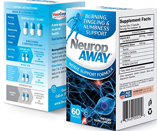 NeuropAWAY Nerve Unterstützung Formel - Neuropathie Schmerzlinderung, brennende Füße, Kribbeln, Taubheit, Schmerzen in den Beinen (60 Kapseln - Tag)