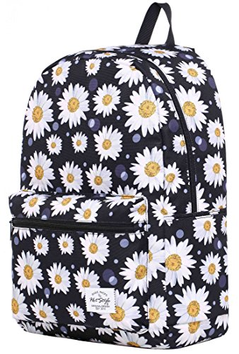 TRENDYMAX Backpack for School Girls & Boys, Durable and Cute Bookbag with 7 Roomy Pockets, Daisies