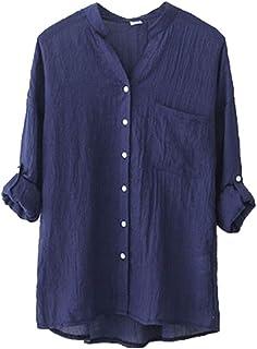 356354e5f434 Yanlian Donna in Cotone e Lino Blusa Manica Lunga Camicia Elegante Lunghi  Maglia Camicetta Casual